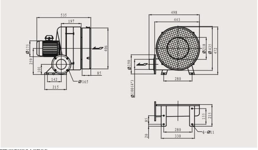 HTB100-203 1.5KW全风透浦多段式中压鼓风机示例图2