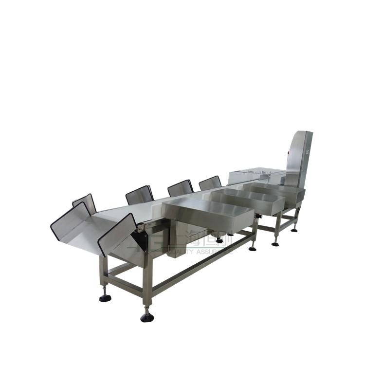 称重范围:0.05-20/30kg  检测精度:±0.2g(检测精度受产品重量、产品尺寸、运送方式、工作环境等影响)  分度值:0.1g  大检测速度:150件/分  输送带宽度:220mm  剔出系统:多级剔出 (可定做其它类型)  电源供应:AC220V;50HZ;1P;10A  机壳材料:304不锈钢  功能:高精度数字称重传感器,自动零点跟踪功能;加强型不锈钢机架;可50组产品配方预设存储;水设计;  水等级:IP65